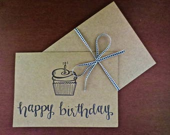 Cute Cupcake Happy Birthday Card (set of 5)