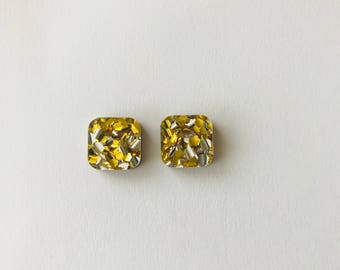 NEW NEW NEW! 15mm Gold Lux Glitter Square Stud Earrings
