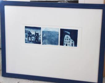 "Framed print ""Hobo"", three prints, stemming from the series ""little houses"""