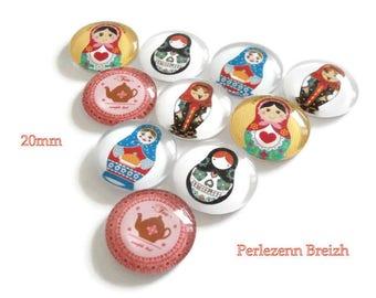 Set of 10 illustrated glass nesting doll matryoshka and teapot 20 mm round cabochons