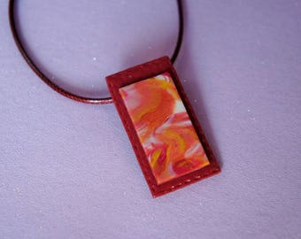 Women Burgundy Carmine Garnet pendant necklace rectangle abstract graphic jewelry, rectangle necklace, women gift