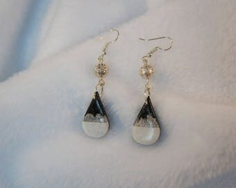 Earrings drop shape black white and silver with metal, handmade jewelry unique, asymmetrical winter layering