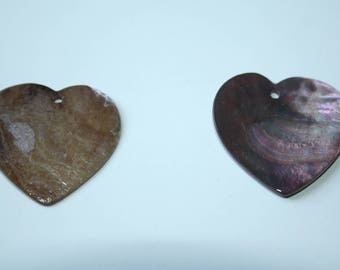 Pendant Pearl Heart Purple 3 cm