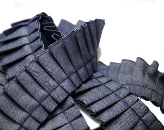 Ribbon ruffle Chambray blue effect Jeans 2.5 cm x 1 meter