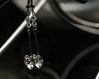 Stunning swarovski hearts drop earrings