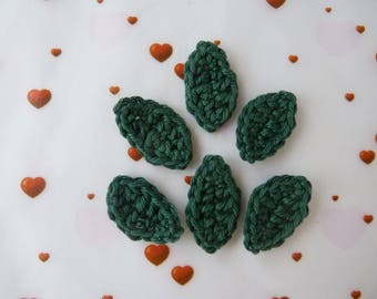 Set of 6 leaves dark green applique crochet