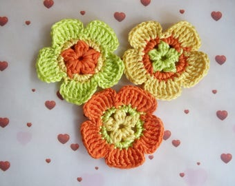 Set of 3 flowers - applied crochet cotton