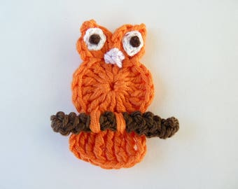 OWL, owl, owl, orange - applique crochet