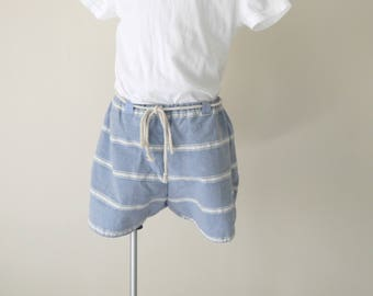 cotton bloomers shorts striped blue and white 18 / 24 months