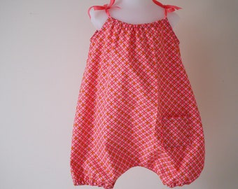 Size suit romper baby girl knotted shoulders printed toned geometric pink orange