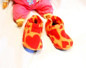 Washable fleece hearts slippers, soft and lightweight made of 100% in France