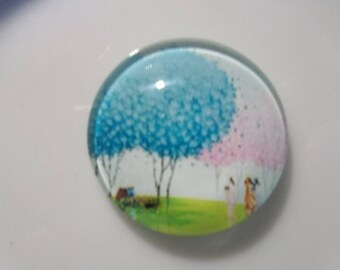 tree 20mm glass cabochon