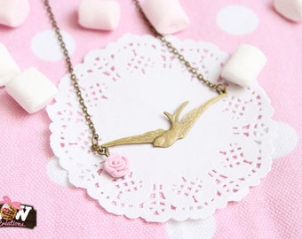 Necklace - Babybird and pink soft