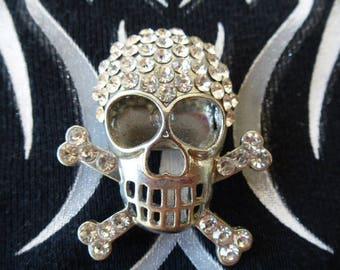 skull tête de mort os croisés bijoux de ceinture métal argenté et strass pour customistion vêtement et accessoires
