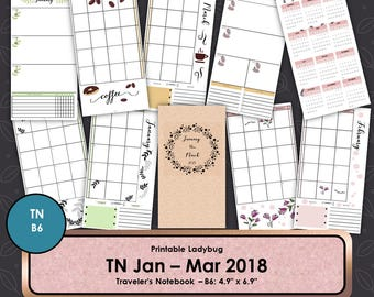 Travelers Notebook,2018 Calendar,Travelers Journal,Bullet Journal,TN Inserts,Travelers Notebook Inserts,Midori Inserts,B6 TN, B6