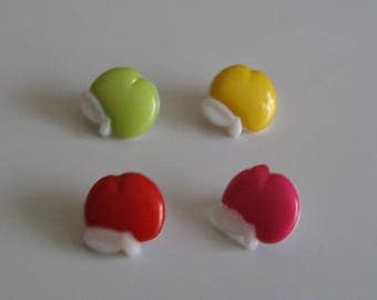 Set of 4 buttons apples for colourful knitting sewing set no. 13 mm 1