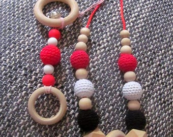Nursing necklace + rattle baby teething for Mom and baby