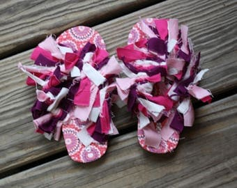 Pink Pattern Size 8-9 Kid's | Flip Flops | Shaggy Shoes | Unique and one of a kind!