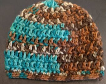 Brown/Blue Baby Hat