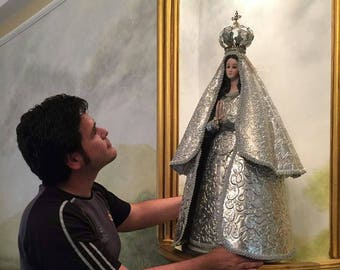 Our Lady of the Valley and saints in porcelain, aluminum and embossed tin
