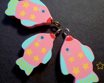 3 wooden fish charms