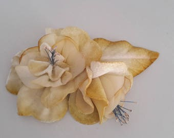 Vintage light yellow velvet flower hair