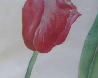 Textile decor depicting tulips - fabric sticker - 34 cm x 16 cm