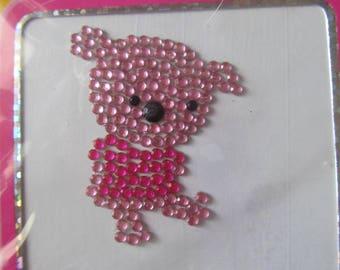 pattern pink rhinestones - diamonds up - depicting a teddy bear decal/stickers