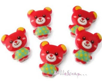 Set of 5 small Cubs red resin scrapbooking card making. (ref.410). *.