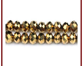 10 round faceted gold Crystal swarovski type beads 6 x 4 mm