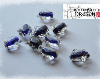 Glass fish beads, handmade