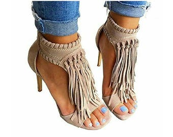 Open Toe Fringe Tassel Sandal High Heel Pump Sandal
