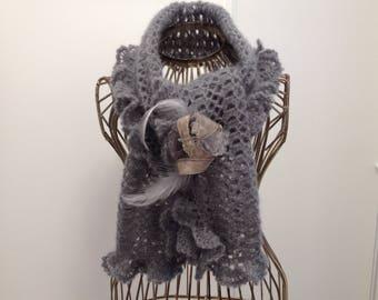 Gray scarf mouse mohair/silk yarn