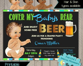 Cover My Baby's Rear Diaper Party Invitation - Printable file - It's a boy Baby Shower Invite - Man's Shower