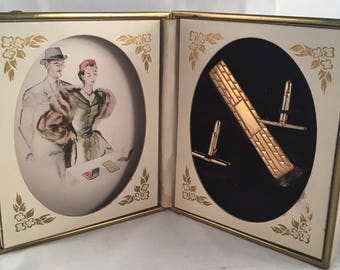 Vintage Anson Tie Clip and Cuff-link Set with Presentation Box and Illustration