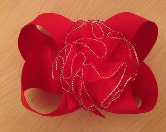 Red Flower Bow