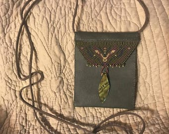 Glass beaded money and ID purse.