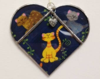 """Stained Glass, Heart, Suncatcher, """"Fancy Cat"""", Double Sided Sun Catcher, Home Decor, Cat Lover, Gift for Her, Window Decoration, Valentine"""