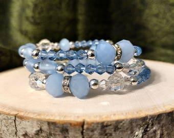 Light Blue Crystal Beaded Bracelet