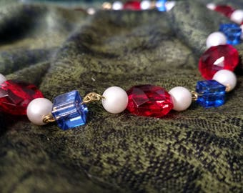Red White and Blue Beaded Necklace