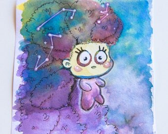 Mini watercolor CONSTELLATIONS - painting - illustration - original