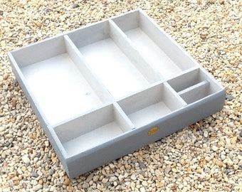 Old patina wooden compartments tray or large CASIIER grey