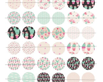 """Digital 48 images for cabochons 25mm (1 inch) Board, """"Mint cactus"""" theme"""