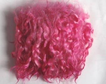 Locks, hair, strands for dolls-natural goat wool-pink