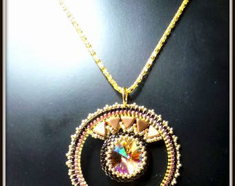 Round Crystal Necklace, circle around a hand woven swarovski crystal beads