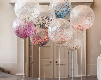 36 inch Rainbow/Confetti Balloons /  Birthday Balloon Bouquet Kit Balloon Set Giant Birthday Bouquet Kit Balloon Set Baby ShowerBaby Shower