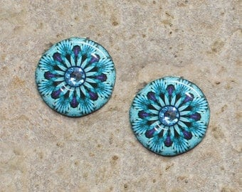 2 round cabochon 20 mm resin turquoise kaleidoscope print