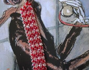 Elegant red and pink Crystal bracelet Swarovski