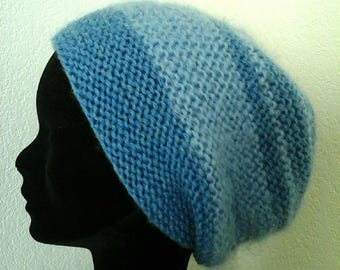 Blue Hat hand knitted, warm and light wool