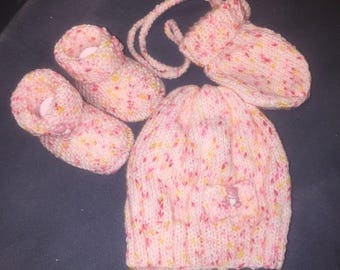 Set of hat, glove and Ballet shoe pink and white button Teddy bear
